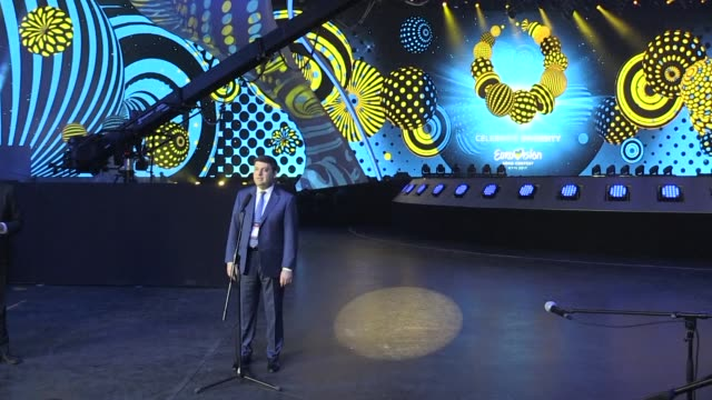ukrainian prime minister volodymyr groysman says the country is ready on time to stage the eurovision song contest 2017 which will be held in kiev... - eurovision song contest stock videos & royalty-free footage
