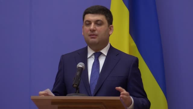 Ukrainian Prime Minister Volodymyr Groysman speaks at a pressconference during the GUAM Summit in Kiev Ukraine Monday 27 March 2017