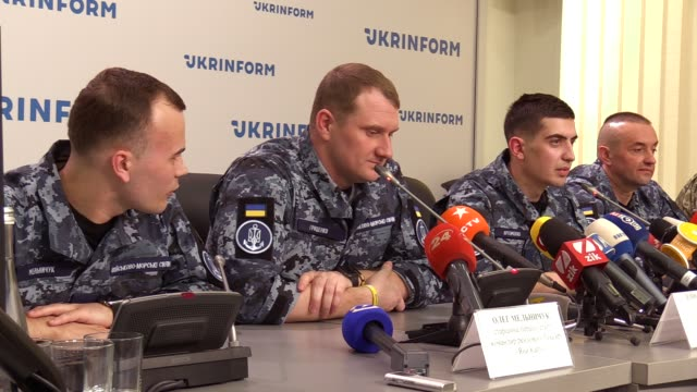 ukrainian sailor senior commander of the small armored artillery boat 'berdyansk' andriy artemenko speaks during a joint press conference of released... - political prisoner stock videos & royalty-free footage