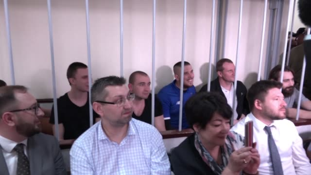 ukrainian sailors attend a hearing in moscow where the court will decide whether to continue to hold the 24 seamen who captured last november - court hearing stock videos and b-roll footage
