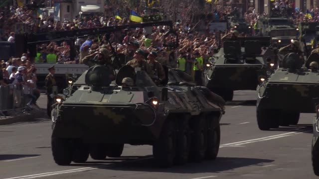 ukrainian soldiers participate a military parade in kiev ukraine 24 august 2018 ukrainians mark independence day on 24 august around 4500 servicemen... - military parade stock videos and b-roll footage