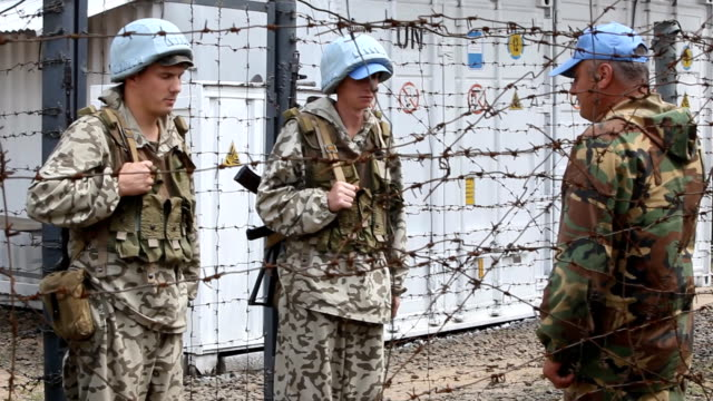 ukrainian soldiers patrolling at un peacekeeping forces base in liberia - military base stock videos & royalty-free footage