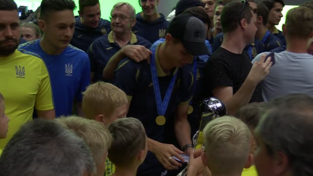 Ukrainian U20 national soccer team players and supporters attend a meeting ceremony at the Football Federation of Ukraine in Kiev Ukraine 16 June...
