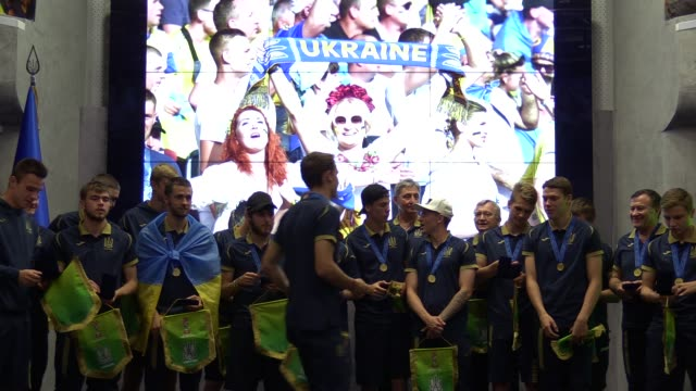 Ukrainian U20 national soccer team players attend a meeting ceremony at the Football Federation of Ukraine in Kiev Ukraine 16 June 2019 Ukrainian...