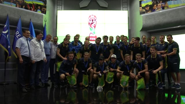 Ukrainian U20 national soccer team players pose for a photo during a meeting ceremony at the Football Federation of Ukraine in Kiev Ukraine 16 June...