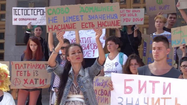 ukrainians feministsrepresentatives of lgbt organizationsand their supporters attends march called i'm not afraid to act in downtown kievukraine17... - intersex stock videos and b-roll footage
