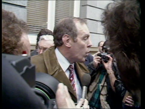 """enniskillen ira bomb; enniskillen: town hall: ext/this afternoon cms cllr raymond ferguson speaking to press sof - surrounded by press """"we are fed up... - ulster province stock videos & royalty-free footage"""