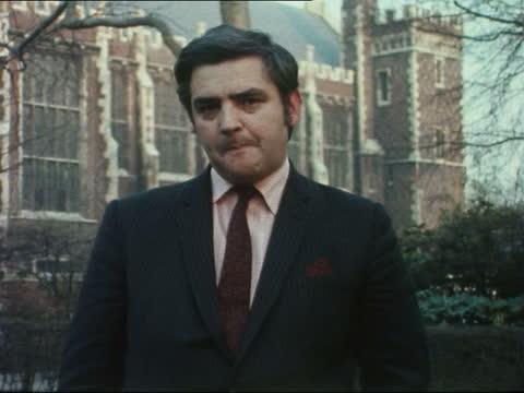 widgery tribunal: london summing up; england: london: church hall: ext robert southgate to camera sof 69797 - アルスター州点の映像素材/bロール