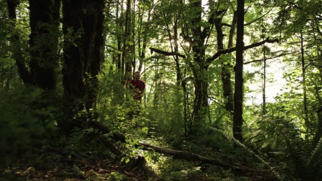 森の中で屋外を実行するウルトラ マラソン ランナー - 胸筋点の映像素材/bロール