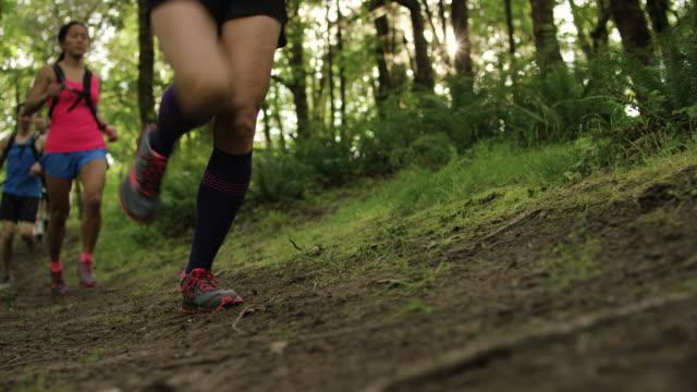 ultra marathon löpare kör utomhus i skogen - människoarm bildbanksvideor och videomaterial från bakom kulisserna