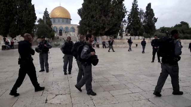 ultra orthodox jewish men visit the al aqsa compound in jerusalems old city on tuesday under israeli police protection - compounding stock videos and b-roll footage