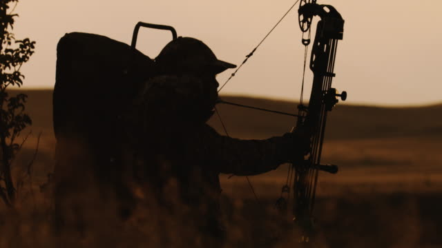 ultra slow-motion, 200 bilder pro sekunde, der eine hintergrundbeleuchtung bowhunter zeichnung wieder seinen bogen, zielen und feuern auf sein ziel im schönen sonnenuntergang leben. - tiere bei der jagd stock-videos und b-roll-filmmaterial