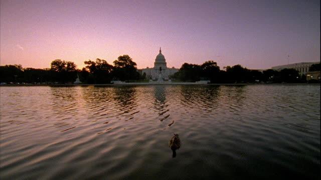 vídeos y material grabado en eventos de stock de xws ulysses s grant memorial rippling pool water w/ ducks statue capitol building bg - ulysses s grant