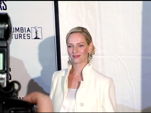 Uma Thurman at the New York Premiere of 'The Producers' at the Ziegfeld Theatre in New York New York on December 4 2005