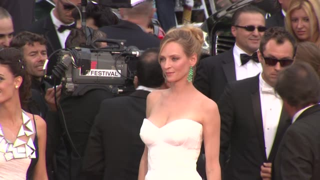 uma thurman at the opening night midnight in paris premiere 64th cannes film festival at cannes - cannes stock videos & royalty-free footage