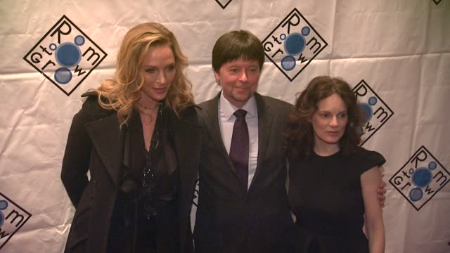 uma thurman ken burns and julie burns at room to grow fundraising gala benefit on 02/06/12 in new york - ken burns stock videos and b-roll footage