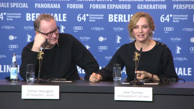 INTERVIEW Uma Thurman on her character filming with him the challenges Stellan Skarsgard on reading the script and his character at 'Nymphomaniac'...
