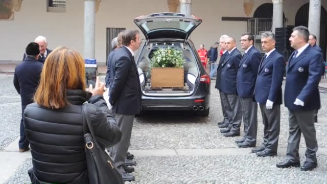 umberto eco's coffin is carried out the courtyard of the castle during the funeral ceremony at castello sforzesco on february 23 2016 in milan italy... - philosopher stock videos & royalty-free footage