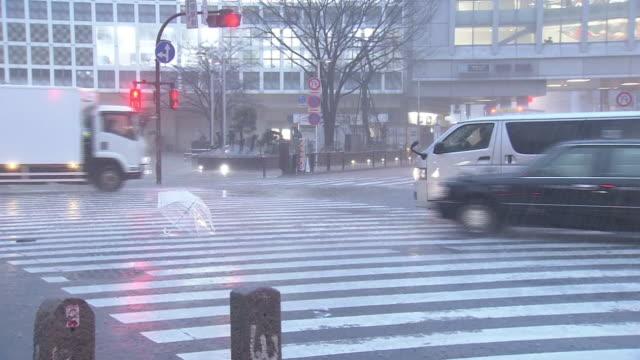 vídeos de stock e filmes b-roll de umbrella blown away in storm, tokyo, japan - chapéu