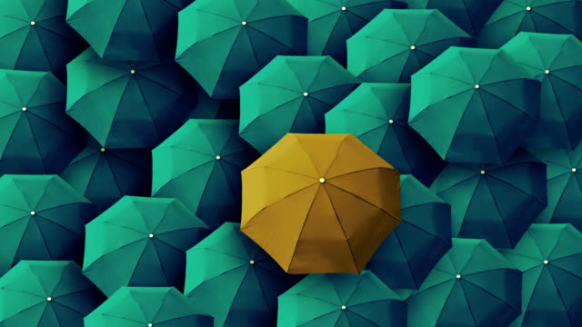 umbrella, leader, unique, boss, individuality, original, special - creativity stock videos & royalty-free footage