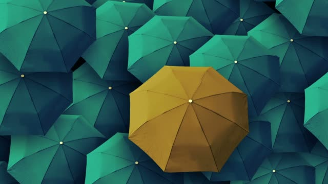 umbrella, leader, unique, boss, individuality, original, special. - standing out from the crowd stock videos & royalty-free footage