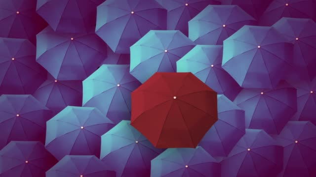 umbrella, leader, unique, boss, individuality, original, special - protection stock videos & royalty-free footage