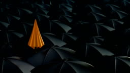 Umbrella standing out from crowd mass concept