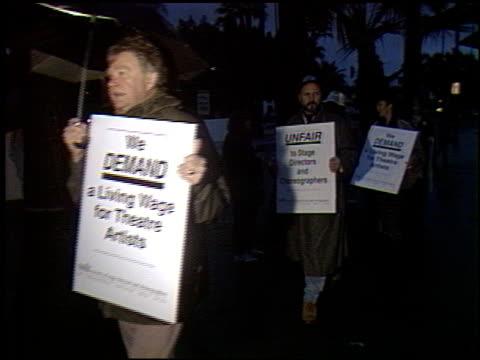 umbrellas at the stage directors protest at pasadena playhouse in pasadena california on january 17 1993 - pasadena playhouse stock videos & royalty-free footage