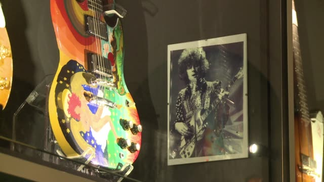vídeos de stock, filmes e b-roll de umea, european culture capital this year and known for a vibrant rock music scene, inaugurates a guitar museum with 300 vintage high-end instruments,... - rock moderno