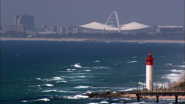 umhlanga rocks  - aerial view - kwazulu-natal,  ethekwini metropolitan municipality,  ethekwini,  south africa - durban stock videos and b-roll footage