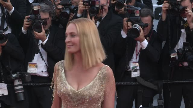 Un Certain Regard jury members Reda Kateb Uma Thurman Karel Och and Mohamed Diab on the red carpet for the Closing Ceremony of the Cannes Film...