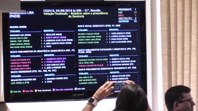 vídeos y material grabado en eventos de stock de un comite del senado emitio el jueves un voto mayoritario en favor de llevar a la presidenta suspendida dilma rousseff a un juicio de destitucion por... - llevar