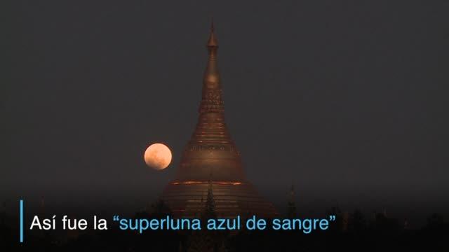 un eclipse lunar total particularmente raro por su tamano ofrecio el miercoles un espectaculo celestial visto por miles de personas en gran parte del... - azul bildbanksvideor och videomaterial från bakom kulisserna