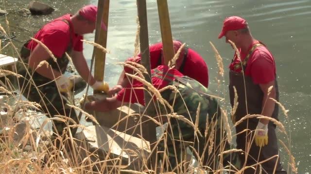 un grupo de arqueologos dio con una serie de antiguedades del 700 a c en las riberas del rio vistula gracias a la sequia que hizo descender sus aguas - arqueologia stock videos & royalty-free footage