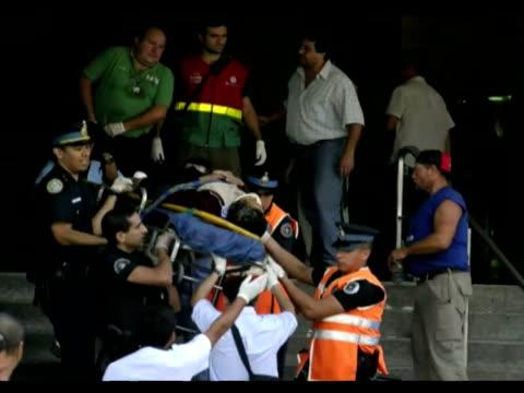 un tren colmado de pasajeros se estrello el miercoles contra la estacion terminal de once en buenos aires con un saldo de 49 muertos y al menos 600... - argentina stock videos & royalty-free footage