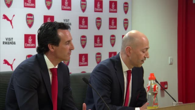 press conference cutaways ENGLAND London Emirates Stadium INT Unai Emery and Ivan Gazidis press conference