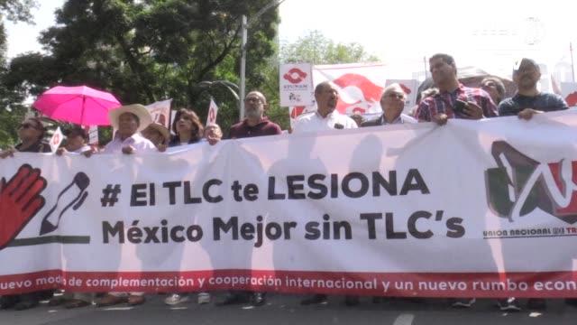 unas 2000 mexicanos protestaron el miercoles contra el tratado de libre comercio de américa del norte mientras representantes de canada estados... - canadá stock videos & royalty-free footage