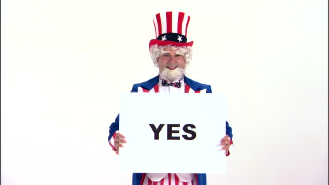 uncle sam holding yes sign - uncle sam stock videos & royalty-free footage