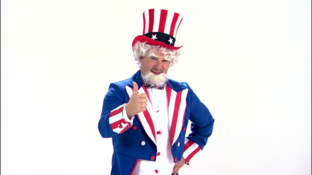 uncle sam with thumbs up - uncle sam stock videos & royalty-free footage