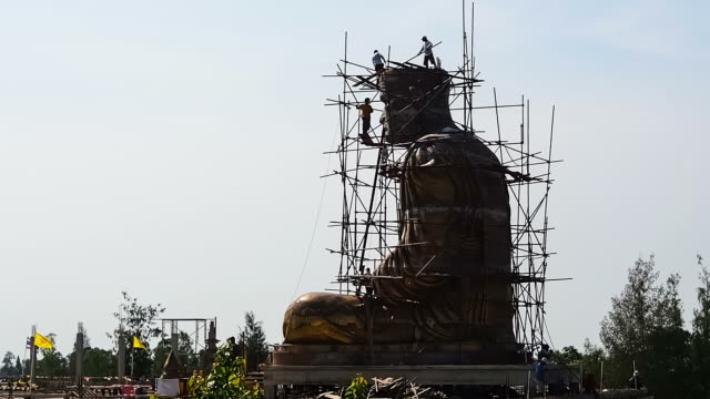 under construction of buddha image - sculpture stock videos & royalty-free footage