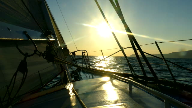 under sail in the storm at sunset - yachting stock videos & royalty-free footage