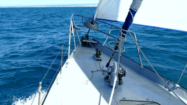 under sail of a high-speed sailing yacht - ship's bow stock videos & royalty-free footage