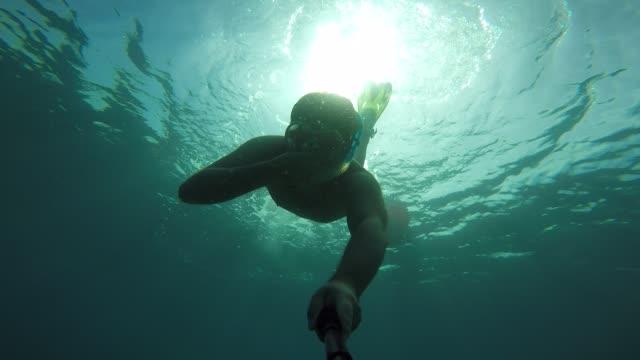 under water selfie - gopro stock videos & royalty-free footage