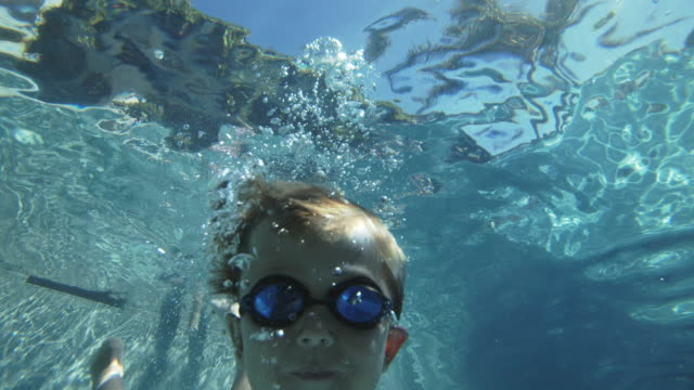 cu under water shot of young boy diving into a swimming pool - swimming goggles stock videos & royalty-free footage