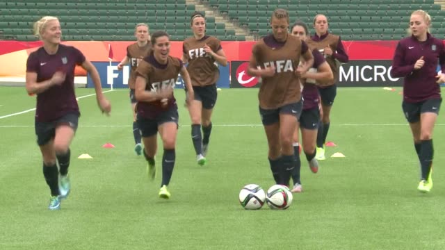 underdog england appeared confident ahead of its semi-final clash against japan, one of the heavyweight of the women's world cup in canada - semifinal round stock videos & royalty-free footage