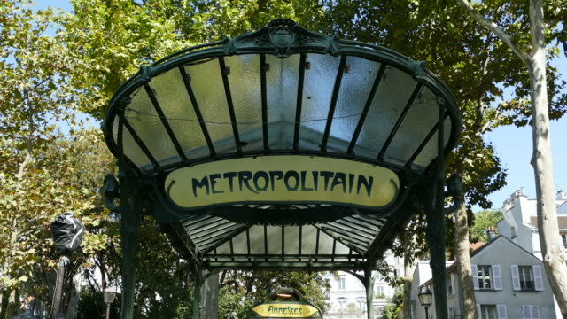 underground metro station abbesses, montmartre, paris, france, europe - ornate stock videos & royalty-free footage
