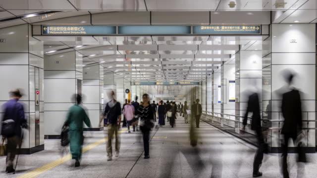 underground passage in nishi-shinjuku, tokyo, japan - station stock videos & royalty-free footage