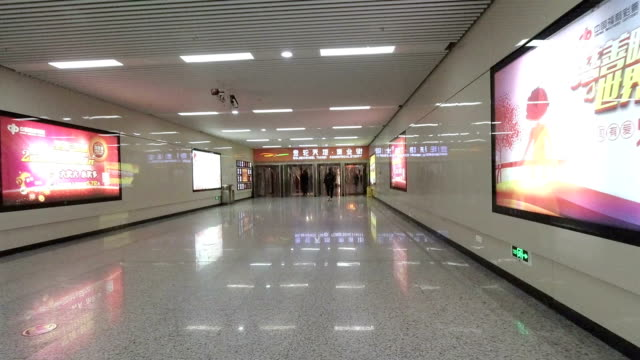 underground passage of subway station in downtown - jiangsu province stock videos & royalty-free footage