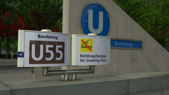 underground station bundestag near paul loebe building, berlin, germany - 禁煙マーク点の映像素材/bロール