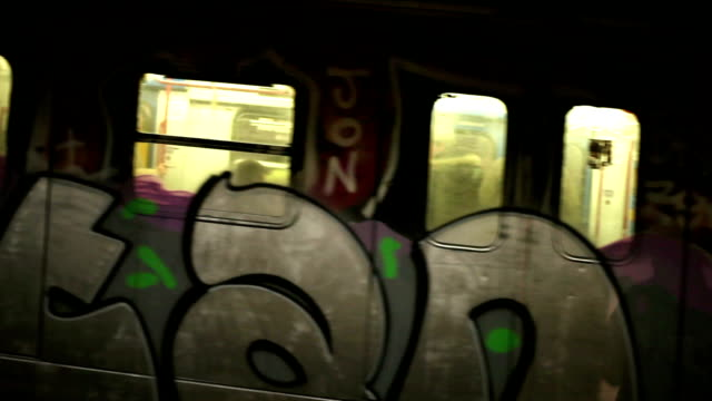 hd underground train station - graffiti stock videos and b-roll footage